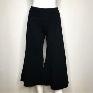 NEW TQM Black Cotton Flared Crop Flow Pants Small